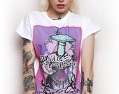 mushroom t-shirt - pastel goth clothing - pastel grunge - sweet kawaii design - soft grunge tee - aesthetic - creepy cute - lolita - pink