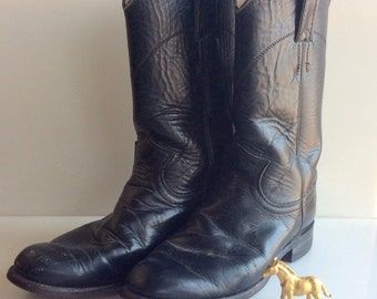 Ladies JUSTIN Black Roper Leather Cowboy Boots //  Size 5.5