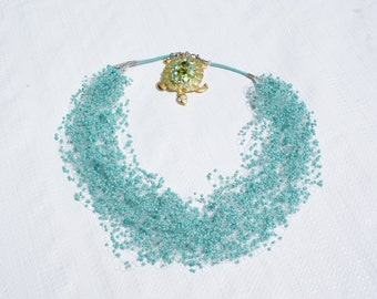 Boho Turquoise Statement Necklace Crochet Necklace Airy necklace Choker Bib necklace Mother Day Gift Christmas Gift