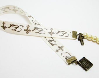 Christian Ribbon Bookmark Faith Ribbon Baptism Confirmation Ribbon Bronze Bible Charm Bronze Cross Ivory Glass Pearls