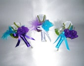 Peacock Colors White Rose Bud Corsage, Boutonniere, Wedding Party, Prom, Special Event