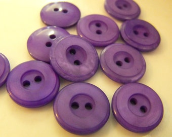 """11 Purple Wide Ring Round Buttons Size 9/16"""""""