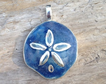 Sand Dollar Pendant with fine silver