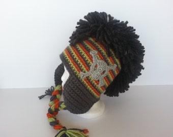 Crochet Mohawk Skull Crossbones Punk Rock Hat-Adult Fashion Hat-Teen Skull Ear Flap Hat-Toddler Photo Prop-Kids Mohawk Hat-Baby Skull Hat