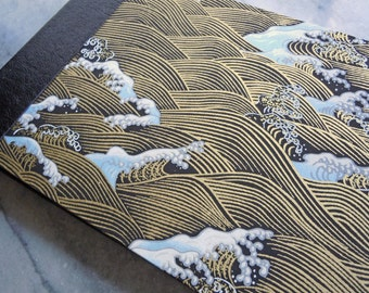 Japanese Yuzen Waves and Black Leather Guest Book Album