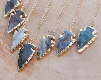 Arrowhead Necklace - Agate Arrowhead Necklace - Layering Necklace - Bohemian Necklace - Boho Hippie Chic Necklace - Rough Stone Necklace