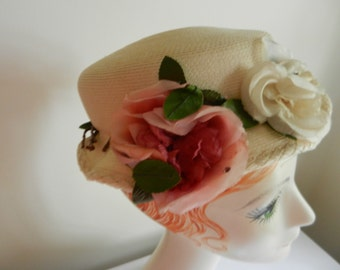 Vintage Cream Staw Hat with Pink, Cream and Red Rose Flowers and Rhinestones by Marion Hallowell of Wilmette