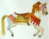 Original Watercolor Carousel Horse Carousel Art Childs Room Decor