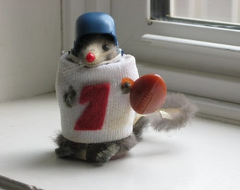 Vintage Fur Mouse Football Player Made by The Little Mouse Factory in the USA