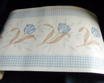 Blue Flowers With Tan Leaves and Blue Checkered Ribbon Border Wallpaper Border, Vintage
