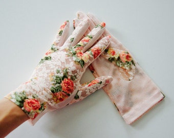 Pink Emma Shabby Chic Lace Floral Gloves
