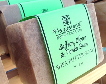 Saffron Clover & Tonka Bean Shea Butter Soap, Herbal Soap, Natural Soap, exfoliating, scrub