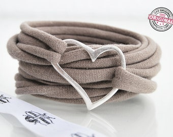 bracelet wrapped light brown fabric with love and silver plated heart