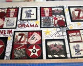 Date Night Movie Themed 24x44 premium cotton fabric panel from Wilmington prints