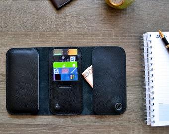 iPhone 7 wallet case- black Italian leather