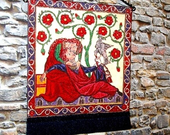Lovers Embrace Tapestry, Medieval Dollhouse Miniature 1/12 Scale, Hand Made in the USA