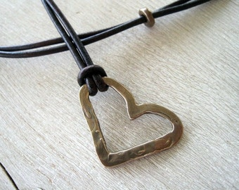Rustic Artisan Heart Bronze Necklace with Bronze Button adjustible Strand