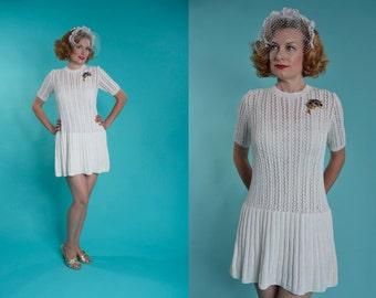 Vintage 1960s Mini Wedding Dress - Casual Mod White Knit - 1970s Bridal Fashions