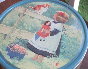 Vintage Danish Cookies Tin with Krista Kieffer Art includes Crochet Cotton Thread