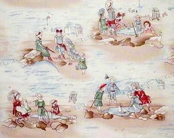 VICTORIAN Children at the BEACH Toys Clothes Cotton Fabric