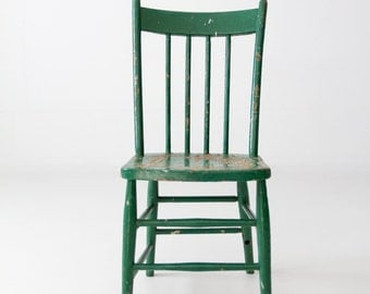 FREE SHIP  antique green painted wood spindle chair