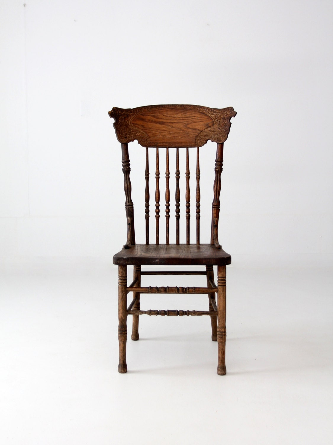 Antique oak pressed back chair