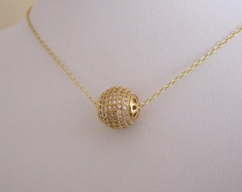CZ paved ball yellow gold necklace, floating ball necklace