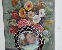 Hollywood regency OOAK hand made rhinestone picture frame in a florual frame