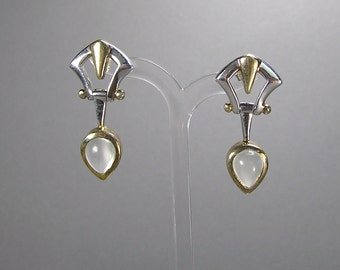 Sterling Moonstone Earrings, Vermeil, Etruscan, Empire Style, Pierced Earrings, 80's, Vintage Silver