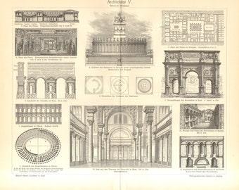 1902 Ancient Roman Architecture Vintage Engraving Print