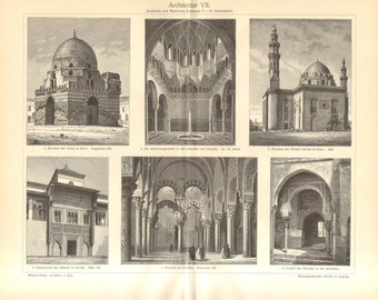 1902  Islamic and Moorish Architecture Vintage Engraving Print