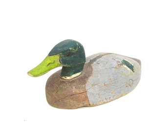 Vintage Duck Decoy Carved Wood Drake Mallard American Carver Harry Ackerman Painted Wooden Folk Art