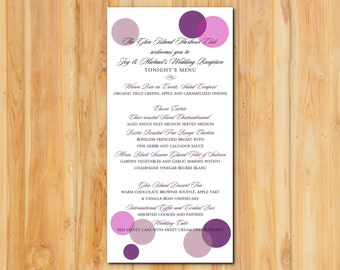 Modern Circles Wedding Menu 50qty, Shimmer Metallic Purple Wedding Reception Menu, Personalized Wedding Table Setting Custom Designed