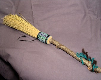 "17"" Long Hand Fasting Besom Hearth Broom"