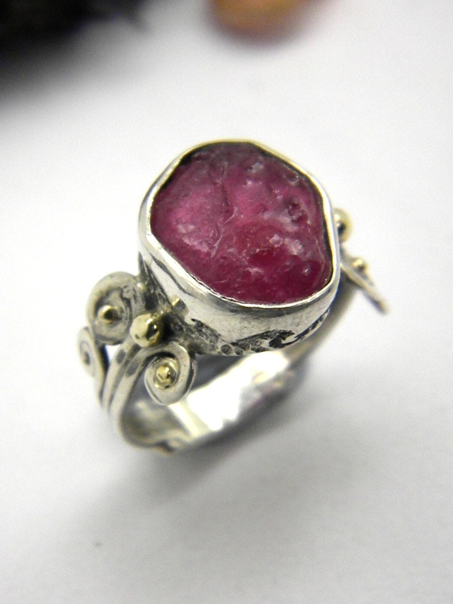 Ruby Ring Sterling Silver Abstract Rough Ruby Pink Raw Stone