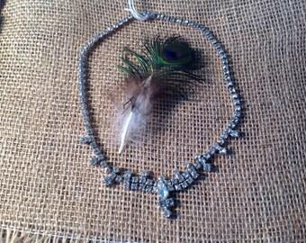 Vintage rhinestone necklace Victorian style clear tear drop