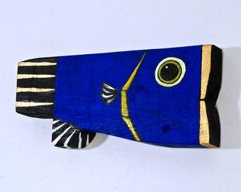 Blue Fish Painted on Reclaimed Wood OOAK Handmade Folk Art Mississippi