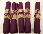 burlap wedding, 40 napkins with burlap rings, Burgundy napkins, wedding rehearsal