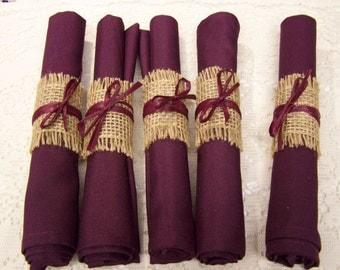 burlap wedding, 40 napkins with burlap rings, Burgundy napkins, wedding rehearsal