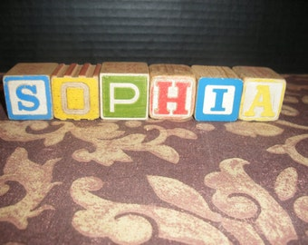 Vintage Colored Wooden Children Toy Blocks Spelling SOPHIA Wood Block Names Words