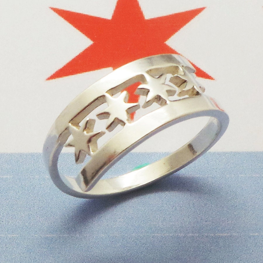 Chicago Flag Silver Ring Chicago State Star Ring Chicago - Chicago map ring