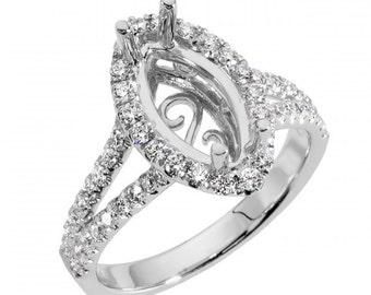 Diamond Ring Setting, Semi Mount, Diamond Engagement Ring Setting, Halo Engagement Ring, 1.5Ct. Center Marquise Diamond Engagement Ring