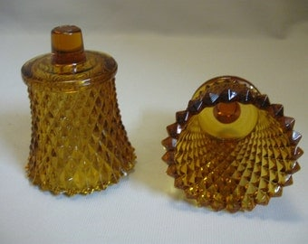 Amber Indiana Glass Co Diamond Point Qty 2 Candle Holder Votive 1965-1980