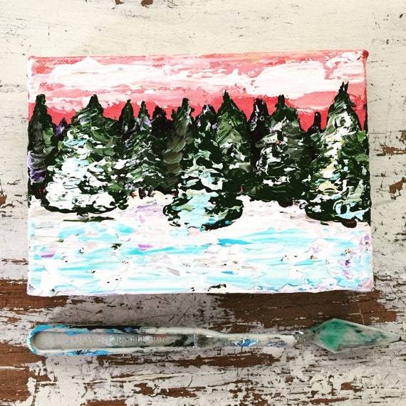 Winter Pine Tree Scene, Textured 5x7 Art by MyImaginationIsYours
