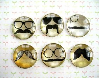Mustache Magnet, Mustache Fridge Magnet, mustache Round Magnet - 6 PCS