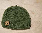 Green Alpaca Baby Hat, Knit Green Baby Beanie, Alpaca Wool