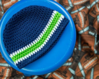 Seattle Seahawks Football Beanie Hat (fits newborn to adult)