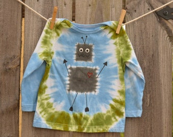 18 Months Baby Boy Tie Dye Happy Robot Long Sleeve T-Shirt
