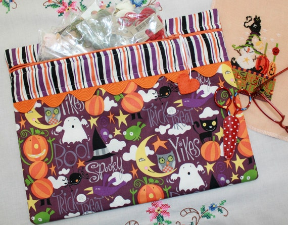Yikes! It's Halloween Cross Stitch, Sewing, Embroidery Project Bag