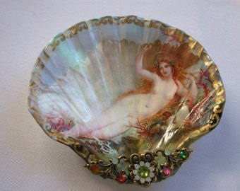Sun Bathing Siren Shell Jewelry Dish
